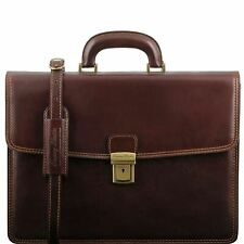 Amalfi - Leather Briefcase 1 Compartment Rigid Structure Made In Italy Tuscany