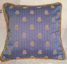 Provence French Country Cottage Garden Bumble Bee Pillow Paris Blue Gold