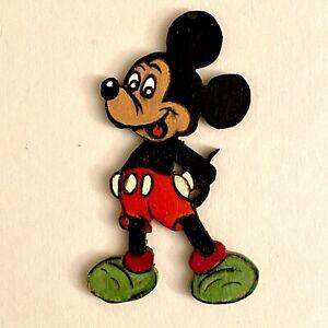 🎁 1970er Laubsägearbeit 8cm Graupner Graubele MINI Micky Maus Holz Figur ALT