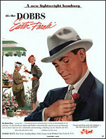 1952 Easter flowers woman Dobbs Homburg Men's Hats vintage art print Ad L1