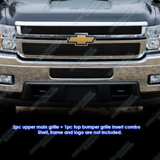 Fits 2011-2014 Chevy Silverado 2500HD/3500HD Black Billet Grille Combo 12 13