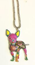 Chihuahua Pendants Necklace, Patchwork Enamel, Statement, Unique Dog Necklace