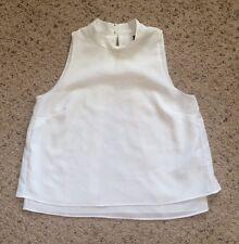 Banana Republic Women Petite White Sleeveless Layered Collar Blouse Top Shirt XS