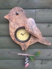 Wren/bird sprung wing metal wall art clock indoor/outdoor great xmas gift item