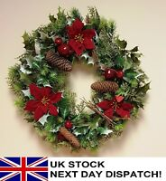 41 Artificial Christmas Wreath Red Poinsettia Berries Cones Twig Holly Ivy Fern