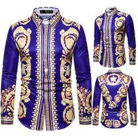 Men's Slim Fit Casual Long Sleeve Shirts Ethnic 3D Floral Print Dress Shirt Tops