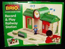 Brio Wooden Railway System Record & Play Railway Station Train Set