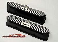 Brand New Ford FE 427 Deep Laser Engraved & Color Filled Black Valve Covers