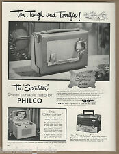 1955 PHILCO Radio advertisement, portable radios, Philco 665 Vanity case radio
