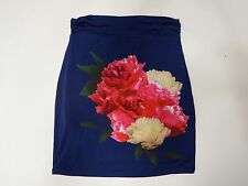 Women Skirt Chelsea & Violet Floral Knit Stretch Blue Above Knee Large L $68