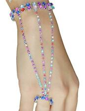 Colorful sparkling beads Hand Harness Slave Bracelet Chain Bangle Finger Ring