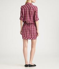 Lacoste Plaid Shirt Dress in Red, Size 42