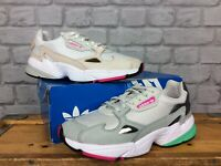 ADIDAS LADIES UK 6 EU 39 1/2 FALCON GREY WHITE PINK GREEN TRAINERS RRP £85