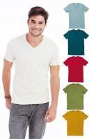 Mans Mens Plain Organic Cotton Vee V-Neck Tee T-Shirt TShirt S-XXL