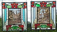 """Bleiverglasung 2 originale Jugendstil Fensterbilder Glasmalerei """"Kirche+Schloß"""""""
