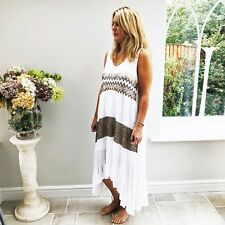 White Sleeveless Dress with Sequinned Aztec Stripe Front