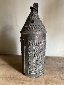 Antique Punched Tin Candle Paul Revere Lantern  Patina Hanging Worn AAFA BIG