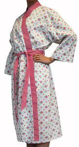 Floral Multi Bathrobe Shabby Chic Dressing Gown Stella Cotton Bath Robe