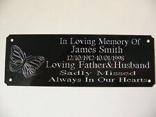 Farfalla Personalizzata PANCHINA Memorial placca targa sign-Inciso 160x55mm