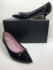 Repetto Nolan Women's Sz 10 EU 41 Black Patent Leather Kitten Heel Pumps ZC-366