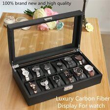 High-Grade 12 Grids Carbon Fiber Watch Gift Box Storage Case Display MD