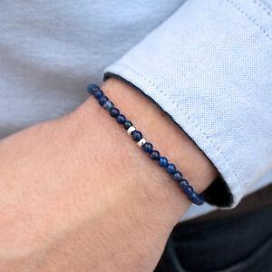 MEGBERRY® Mens Beaded Bracelet - 925 Sterling Silver & Dark Blue Lapis Lazuli