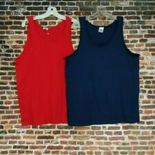 Two Fruit of the Loom Tank Tops Sleeveless Shirts Men's L Large Red Blue Cotton