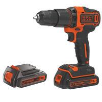 Black & Decker Cordless 18V 1.5Ah Li-Ion Brushed Drill 2 Batteries & Charger
