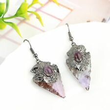 Arrow Dangle Triangle Natural Stone Earring 1pcs Purple Crystal Irregular