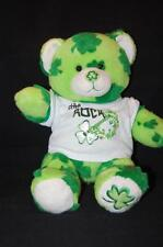 """Green Shamrock Teddy Bear Shirt Sham Rock Guitar Plush 14"""" St Patrick BAB Lovey"""