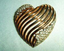 VINTAGE CROWN TRIFARI  RHINESTONE HEART  PIN BROOCH
