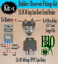 12v DC 40A Relay, 12v DC 40A Auto Reset Breaker HHO Bubbler, Reservoir, Dry Cell