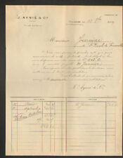 """TOULOUSE (31) USINE de LINGES de TABLE / TOILES du NORD """"J. AYNIE & Cie"""" 1909"""