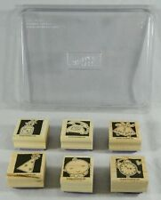 2004 Stampin Up Wood Mounted Rubber Stamps Lot of 6 Bells Baby Phone Clock Party