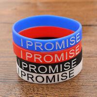 I PROMISE Printed Fashion Silicone Wristband Black White Bracelet Bangle Gift 1X