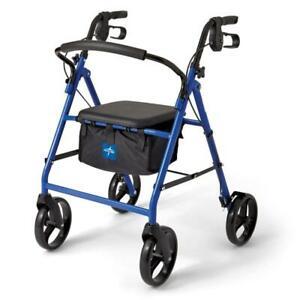 MEDLINE Basic Steel Rollators, Blue, 8.0 IN Wheels, 1 Each / Each