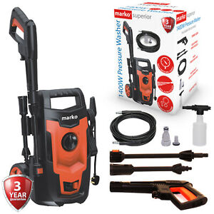 Electric Pressure Washer 1400W High Power Jet Powerful Wash Patio Car Cleaner
