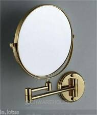 """GOLD 8"""" MAGNIFYING MIRROR FOR BATH, MAKEUP, WALL MOUNTED, SWING ARM, 7X, 2-SIDED"""