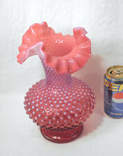 Vtg Large Fenton Art Glass Cranberry Opalescent Hobnail Tall Vase Ruffled 10.5""
