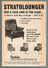 1965 STRATOLOUNGER CHAIR PRINT AD~FASHION FURNITURE & APPLIANCE~BOULDER,COLORADO