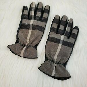 BURBERRY Classic Plaid Gloves in Black/Gray Metallic Leather Palm Cinched Wrist