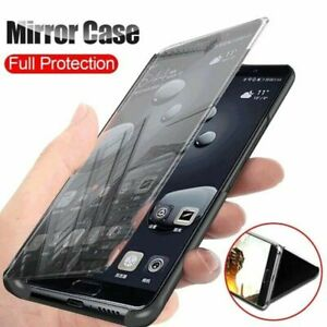 For Samsung Galaxy S20 FE S10 S9 S8 Plus Clear View Mirror Flip Stand Phone Case