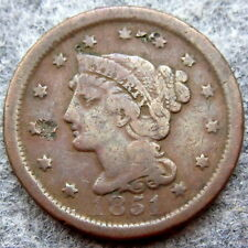 UNITED STATES 1851 ONE CENT, LIBERTY HEAD - BRAIDED HAIR, dent