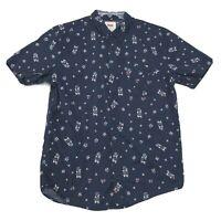 Levi's Shirt Mens Size M Medium Blue Floral Button Front Short Sleeve *READ