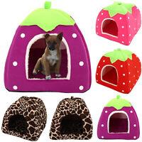 Pet Cat Dog Fleece Igloo Bed Pyramid Cozy Pets Hut House Travel Basket Kennel