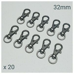 20 x Gun Metal Lobster Swivel Clasps Snap Hooks DIY Keyring Keychain Lanyard