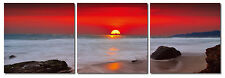 RED SUNSET, Triptych Wall Art Canvas Vinyl Wraps, Set Of 3 panels