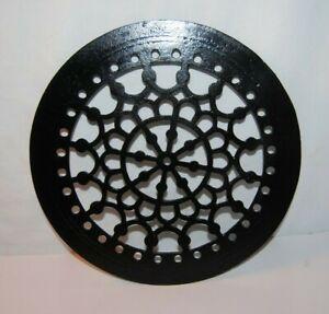 "Ornate Antique Cast Iron Round Heat Vent Grate Restored Black 9 """