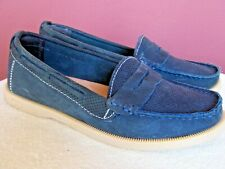 BED|STU Aunt Mildred Women's Blue Suede Penny Loafers Shoes, US 7, EU 37.5, UK 5