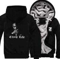 TUPAC SHAKUR Winter Coat 2PAC Thicken Jacket Fleece Sweater Hoodie Warm Coat